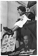 Cindy Adams , ( William Norwich below ) Demonstration in support of the New York Post, Manhattan. 1993.