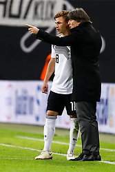 November 16, 2018 - Leipzig, Germany - Germany head coach Joachim Loew (R) talks to Joshua Kimmich during the international friendly match between Germany and Russia on November 15, 2018 at Red Bull Arena in Leipzig, Germany. (Credit Image: © Mike Kireev/NurPhoto via ZUMA Press)