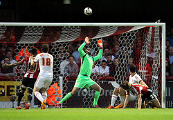 Brentford's James Tarkowski sees his header go over - Photo mandatory by-line: Robbie Stephenson/JMP - Mobile: 07966 386802 - 08/05/2015 - SPORT - Football - Brentford - Griffin Park - Brentford v Middlesbrough - Sky Bet Championship