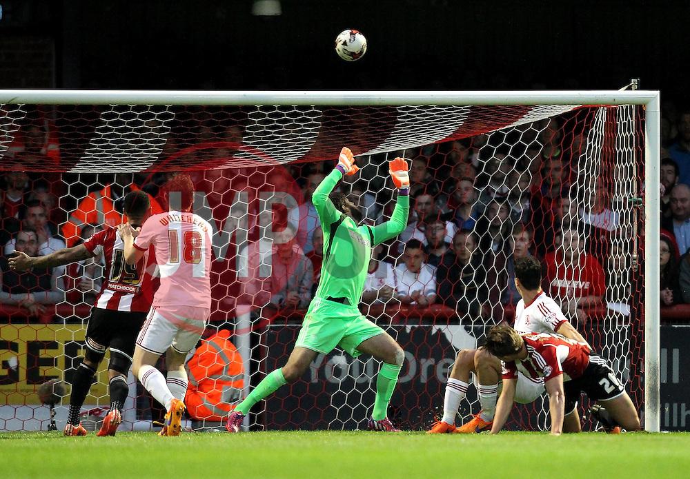 Brentford's James Tarkowski sees his header go over - Photo mandatory by-line: Robbie Stephenson/JMP - Mobile: 07966 386802 - 08/05/2015 - SPORT - Football - Brentford - Griffin Park - Brentford v Middlesbrough - Sky Bet Championship