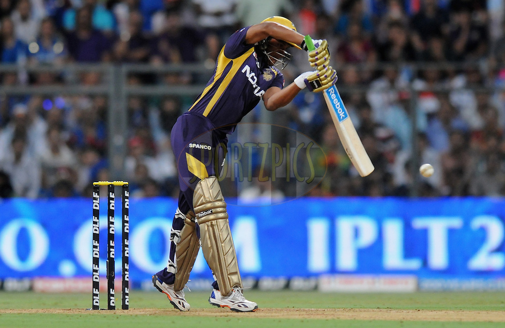 Shakib Al Hasan of Kolkatta Knight Riders bats during match 65 of the Indian Premier League ( IPL) 2012  between The Mumbai Indians and the Kolkata Knight Riders held at the Wankhede Stadium in Mumbai on the 16th May 2012..Photo by Pal Pillai/IPL/SPORTZPICS.