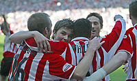 Photo. Andrew Unwin.<br /> <br /> Sunderland v Crewe Alexandra, Nationwide League Division One, Stadium of Light, Sunderland 01/05/2004.<br /> <br /> Sunderland's Jeff Whitley (c) is mobbed by his team-mates after scoring his team's first goal.