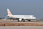 Israel, Ben-Gurion international Airport Israir passenger jet ready for takeoff