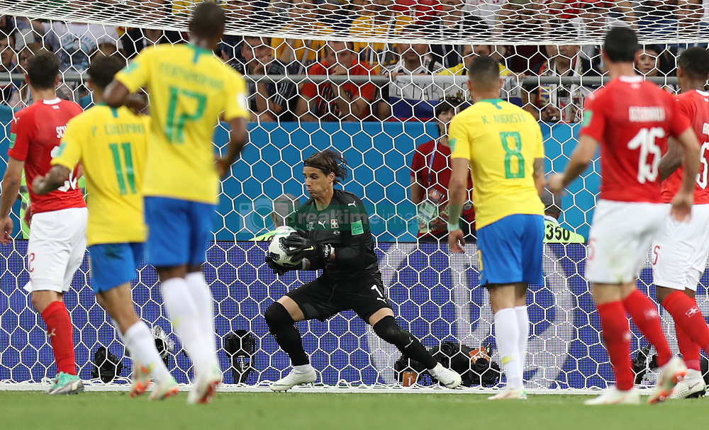 ROSTOV-ON-DON, June 17, 2018  Goalkeeper Yann Sommer (C) of Switzerland defends during a group E match between Brazil and Switzerland at the 2018 FIFA World Cup in Rostov-on-Don, Russia, June 17, 2018. The match ended in a 1-1 draw. (Credit Image: © Lu Jinbo/Xinhua via ZUMA Wire)
