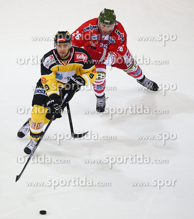 09.10.2015, Albert Schultz Eishalle, Wien, AUT, EBEL, UPC Vienna Capitals vs HC Bozen, 9. Runde, im Bild Nikolaus Hartl (UPC Vienna Capitals) Joel Broda (HC Bozen) // during the Erste Bank Icehockey League 9th Round match between UPC Vienna Capitals and HC Bozen at the Albert Schultz Ice Arena, Vienna, Austria on 2015/10/09. EXPA Pictures © 2015, PhotoCredit: EXPA/ Thomas Haumer