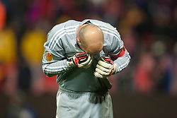 BUCHAREST, ROMANIA - Thursday, December 2, 2010: Liverpool's captain goalkeeper Jose Reina looks dejected after conceding the equalising goal against FC Steaua Bucuresti during the UEFA Europa League Group K match at the Stadionul Steaua. (Pic by: David Rawcliffe/Propaganda)