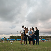 TUESDAY, FEBRUARY 27- 2018---PARKLAND, FLORIDA--<br /> Der Spiegel writer Christoph Scheuermann speaks with students from Marjory Stoneman Douglas High School  the site  of the February 14 school massacre.<br /> (Photo by Angel Valentin/FREELANCE)