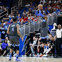 25 February 2017: Orlando Magic forward Terrence Ross (31) takes a jump shot close to Orlando Magic guard Elfrid Payton (4) during the Orlando Magic 105-86 victory over the Atlanta Hawks, at the Amway Center, Orlando, Florida, USA.
