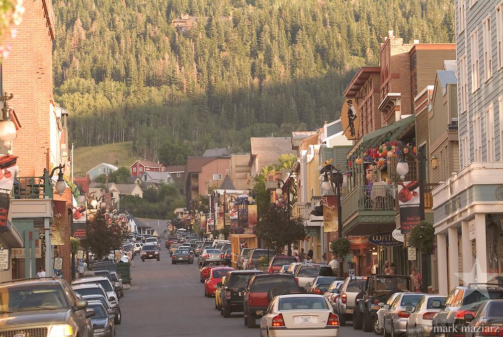 evening view up Main Street, Park City, Utah USA in summer