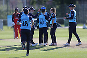 Yorkshire Diamonds celebrate another wicket during the Vitality T20 Blast North Group match between Lancashire Thunder and Yorkshire Vikings at Liverpool Cricket Club, Liverpool, United Kingdom on 13 August 2019.