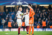 Chelsea (13) Thibaut Courtois, AS Roma (92) Stephan El Shaarawy, AS Roma (4) Radja Nainggolan after the Champions League match between Chelsea and Roma at Stamford Bridge, London, England on 18 October 2017. Photo by Sebastian Frej.