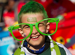 Slovenian young fan enjoys the atmosphere ahead of the 2010 FIFA World Cup South Africa Group C match between Slovenia and USA at Ellis Park Stadium on June 18, 2010 in Johannesberg, South Africa. (Photo by Vid Ponikvar / Sportida)