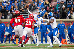 Kentucky quarterback Stephen Johnson throws a pass down field in the second half. The University of Louisville hosted Kentucky, Saturday, Nov. 26, 2016 at Papa John's Cardinal Stadium in Louisville. Kentucky won the game 41-38.