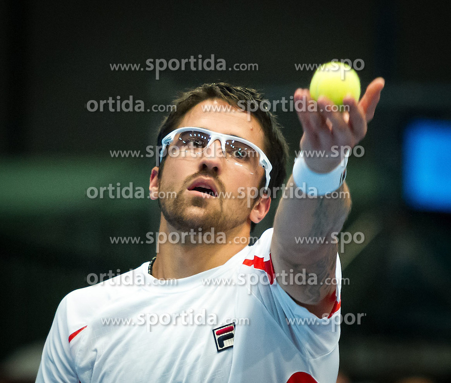 20.10.2012, Wiener Stadthalle, Wien, AUT, ATP, Erste Bank Open, Halbfinale, im Bild Janko Tipsarevic (SRB)// during the ATP, Erste Bank Open, Semifinal, at the Wiener Stadthalle, Vienna, Austria on 2012/10/20. EXPA Pictures © 2012, PhotoCredit: EXPA/ Sebastian Pucher