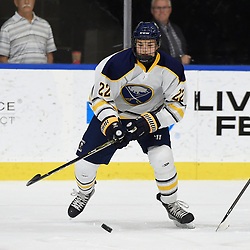 BUFFALO, NY - SEP 19,  2017: Ontario Junior Hockey League Governors Showcase game between the Buffalo Jr. Sabres and the Whitby Fury, Devin Kasperek #22 of the Buffalo Jr. Sabres skates after the puck during the first period.<br /> (Photo by Andy Corneau / OJHL Images)