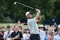 August 10, 2018 - St. Louis, Missouri, U.S - TIGER WOODS from Jupiter Florida, USA  tees off from hole number three during round two of the 100th PGA Championship on Friday at Bellerive Country Club in Town and Country. The PGA Championship was called for the day due to inclement weather. (Credit Image: © Richard Ulrich via ZUMA Wire)
