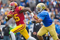 17 October 2012: Wide receiver (15) Nelson Agholor of the USC Trojans catches a pass and scores a touchdown against the UCLA Bruins during the first half of UCLA's 38-28 victory over USC at the Rose Bowl in Pasadena, CA.