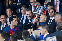 Sergio Busquets and Andres Iniesta raises the trophy during the match of  Copa del Rey (King's Cup) Final between Deportivo Alaves and FC Barcelona at Vicente Calderon Stadium in Madrid, May 27, 2017. Spain.. (ALTERPHOTOS/Rodrigo Jimenez)