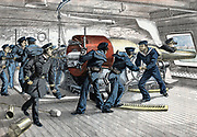 Russo-Japanese War 1904-1905: Scene on gun deck of a Japanese warship during action. From 'Le Petit Journal', Paris, 13 March 1904.