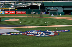 April 5, 2010; Oakland, CA, USA;  Major League Baseball opening series logo painted on the first base line before the game between the Oakland Athletics and the Seattle Mariners at Oakland-Alameda County Coliseum. Seattle defeated Oakland 5-3.