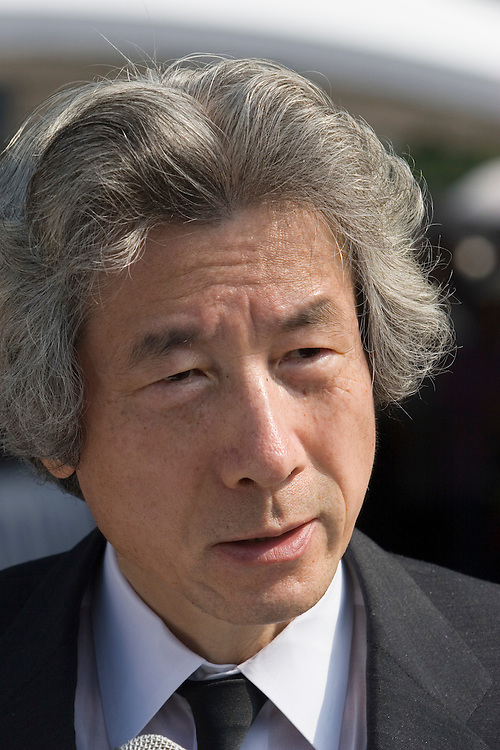 Japanese Prime Minister Junichiro Koizumi Speaks to journalis after Hiroshima Service remembering the  Atomic Bomb Attacts of wwII