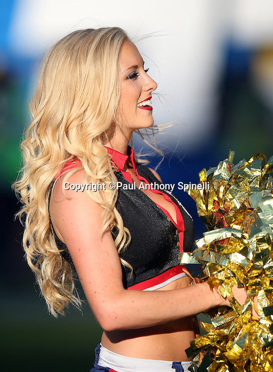 A San Diego Chargers cheerleader waves her poms as she cheers during the 2015 NFL preseason football game against the Seattle Seahawks on Saturday, Aug. 29, 2015 in San Diego. The Seahawks won the game 16-15. (©Paul Anthony Spinelli)
