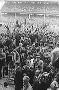 Supports and the media in front of the stand as Down receive the Sam Maguire after the All Ireland Senior Gaelic Football Final Kerry v Down in Croke Park on the 22nd September 1968. Down 2-12 Kerry 1-13.