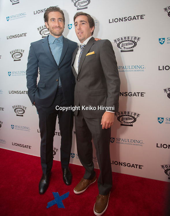 "September 12, 2017, Spaulding Rehabilitation Hospital, Charlestown, Massachusetts, USA: Actor Jake Gyllenhaal (L) and Boston Marathon bombing survivor Jeff Bauman on the red carpet at the U.S. premiere of the movie ""Stronger"" at the Spaulding Rehabilitation Hospital in Boston.Gyllenhaal plays Bauman in the film."