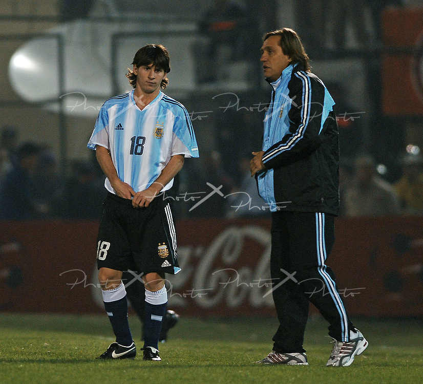 Argentina's forward Lionel Messi during the FIFA 2006 World Cup Germany Qualifying football match against Paragay, at Defensores de Chaco stadium,  in Asuncion, Paraguay, on September 3, 2005.