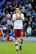 Alex Gilliead (17) of Bradford City applauds the travelling fans as he celebrates the 1-0 win over Portsmouth at full time during the EFL Sky Bet League 1 match between Portsmouth and Bradford City at Fratton Park, Portsmouth, England on 28 October 2017. Photo by Graham Hunt.