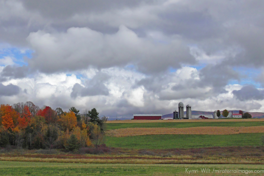 North America, USA, Vermont. Farm and treees in rural Vermont in autumn.