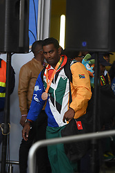 Tyrone Pillay during the welcoming event at OR Tambo International airport for the South African Paralympic team as they arrived home from the Paralympic games in Rio on the 20th September 2016.