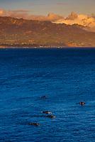 Surfers at Point Castillo, near West Beach, Santa Barbara, California USA.