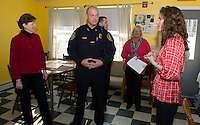 Senator Jeanne Shaheen, Laconia Police Chief Chris Adams, Lt Rich Simmons with Kathy Keller Executive Director and Shauna Bertwell Child and Family Advocate as they give a tour of New Beginnings Friday afternoon.   (Karen Bobotas/for the Laconia Daily Sun)