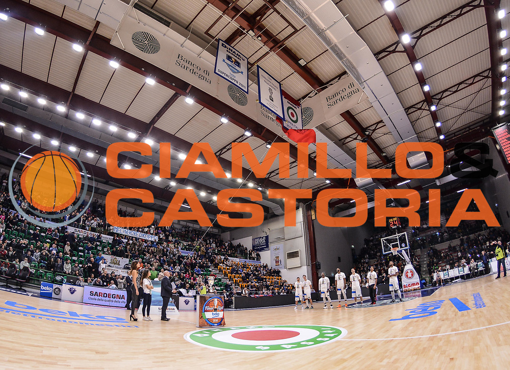 DESCRIZIONE : Campionato 2014/15 Serie A Beko Dinamo Banco di Sardegna Sassari - Acqua Vitasnella Cantu'<br /> GIOCATORE : PalaSerradimigni Stendardo Coppa Italia<br /> CATEGORIA : Palazzo Palazzetto Arena Panoramica Coppa<br /> SQUADRA : Dinamo Banco di Sardegna Sassari<br /> EVENTO : LegaBasket Serie A Beko 2014/2015<br /> GARA : Dinamo Banco di Sardegna Sassari - Acqua Vitasnella Cantu'<br /> DATA : 28/02/2015<br /> SPORT : Pallacanestro <br /> AUTORE : Agenzia Ciamillo-Castoria/L.Canu<br /> Galleria : LegaBasket Serie A Beko 2014/2015