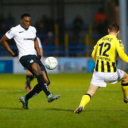 Dover's forward Inih Effiong takes on AFC Fylde's defender Luke Burke during the National League match between Dover Athletic FC and AFC Flyde at Crabble Stadium, Kent on 08 December 2018. Photo by Matt Bristow.