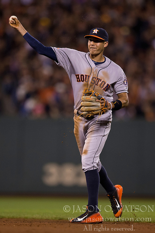 SAN FRANCISCO, CA - AUGUST 11:  Carlos Correa #1 of the Houston Astros throws to first base after fielding a ground ball against the San Francisco Giants during the sixth inning at AT&T Park on August 11, 2015 in San Francisco, California.  The San Francisco Giants defeated the Houston Astros 3-1. (Photo by Jason O. Watson/Getty Images) *** Local Caption *** Carlos Correa