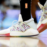 LOS ANGELES, CA - JUN 30: Close view of Candace Parker (3) of the Los Angeles Sparks Adidas shoes during a game on June 30, 2019 at the Staples Center, in Los Angeles, California.
