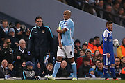 Manchester City defender Vincent Kompany (4)  goes off injured  during the Champions League Round of 16 match between Manchester City and Dynamo Kiev at the Etihad Stadium, Manchester, England on 15 March 2016. Photo by Simon Davies.
