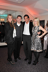Left to right, NICK CANDY & HOLLY VALANCE, BRENT & GENEVIEVE HOBERMAN at Quintessentially's 10th birthday party held at The Savoy Hotel, London on 13th December 2010.