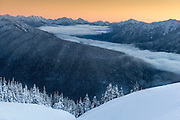 Looking toward Mt. Olympus and the main peaks from Hurricane Ridge at dusk, in Olympic National Park, WA.
