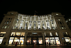 © Licensed to London News Pictures. 14/01/2016. London, UK. Illuminated figures in a sculpture called 'Keyframes' by Groupe LAPS is displayed in Regent Street for Lumiere London. Lumiere London is a major new light festival that, over four evenings, brings together<br /> some of the world's most exciting artists working with light utilising large-scale video-mapped projections, interactive pieces and installations. Photo credit: Peter Macdiarmid/LNP
