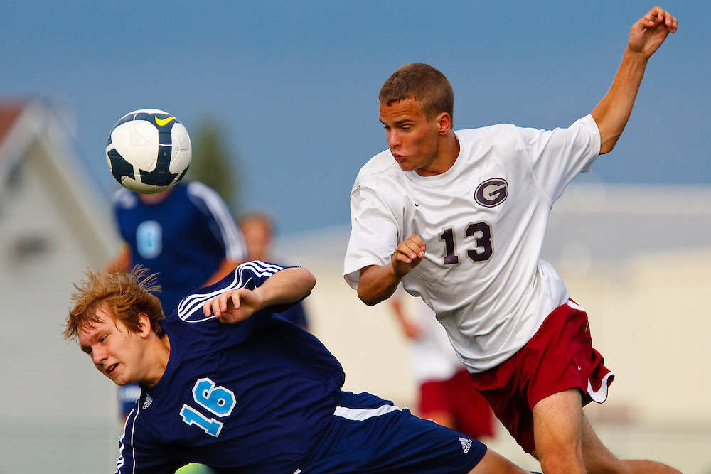 August 27, 2009: #13 Gavin Benadum in the High School Soccer game Lake at Genoa. Genoa won 1-0.