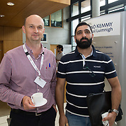 31.08. 2017.                                   <br /> Leaders in the pharmaceutical manufacturing sector in Ireland gathered at University of Limerick today for the third annual Pharmaceutical Manufacturing Technology Centre (PMTC) Knowledge Day.<br /> <br /> Pictured at the event were, Adrian O'Brien, Janssen and Ahmad B Albadarin, UL.<br /> <br /> The event provided a showcase for the cutting-edge research supported by the centre with key note addresses from industry thought leaders who shared their vision of the future for the pharmaceutical sector. Picture: Alan Place