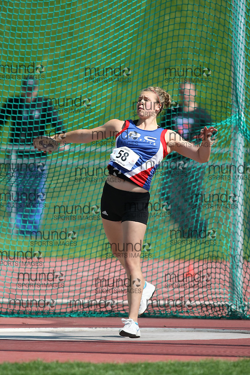 (Sherbrooke, Quebec---10 August 2008) Jade Richardson competing in the discus at the 2008 Canadian National Youth and Royal Canadian Legion Track and Field Championships in Sherbrooke, Quebec. The photograph is copyright Sean Burges/Mundo Sport Images, 2008. More information can be found at www.msievents.com.