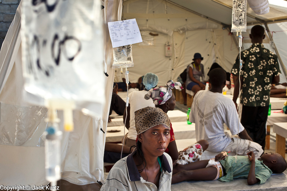 18 NOVEMBER 2010 - PORT-AU-PRINCE, HAITI: Patients in a Medicins Sans Frontieres (MSF - Doctors Without Borders) cholera stabilization center in Cite Soliel in Port-au-Prince. Cite Soleil, a sprawling slum area in PAP is ground zero for the cholera epidemic in the Haitian capital. An outbreak of cholera in northern Haiti about a month ago has spread across the nation. Tens of thousands of people have been hospitalized and treated for cholera and more than 1,100 have died. Cholera is a water borne illness that causes severe diarrhea and death by dehydration in a matter of hours.    PHOTO BY JACK KURTZ  choleraepidemic