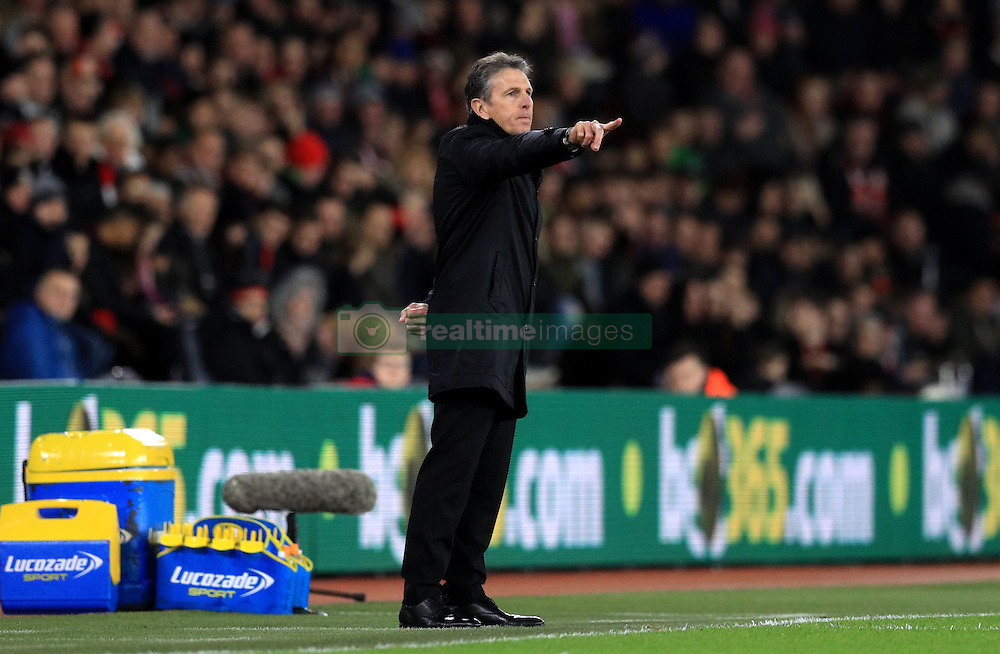 Southampton manager Claude Puel gestures on the touchline during the EFL Cup Semi Final, First Leg match at St Mary's Stadium, Southampton.