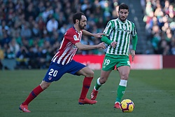 February 3, 2019 - Sevilla, Andalucia, Spain - Antonio Barragan of Real Betis and Juanfran of Atletico de Madrid competes for the ball  during the LaLiga match between Real Betis vs Atletico de Madrid at the Estadio Benito Villamarin in Sevilla, Spain. (Credit Image: © Javier MontañO/Pacific Press via ZUMA Wire)