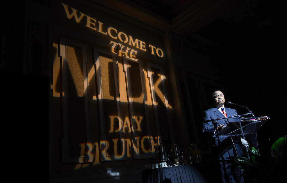 Ohio University President Roderick McDavis speaks at the Martin Luther King Jr. Day brunch on Jan. 16, 2017.