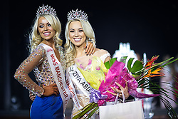 © Licensed to London News Pictures . 06/05/2016 . Manchester , UK . Miss Manchester winner GABIELLE TAYLOR (r) is crowned by last year's winner JODI EYRE (l) . Mr and Miss Manchester contest at the Palace Hotel in Manchester . Photo credit : Joel Goodman/LNP